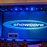 a designed stage with a Showcore screen.