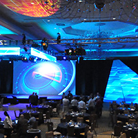 wide shot of a corporate event with designed by Showcore.